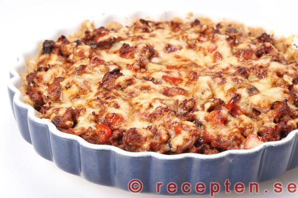 köttfärspaj äggstanning recept