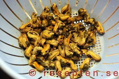 musslor på burk tillagning