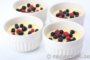 recept på pannacotta med vit choklad garnerad med tranbär