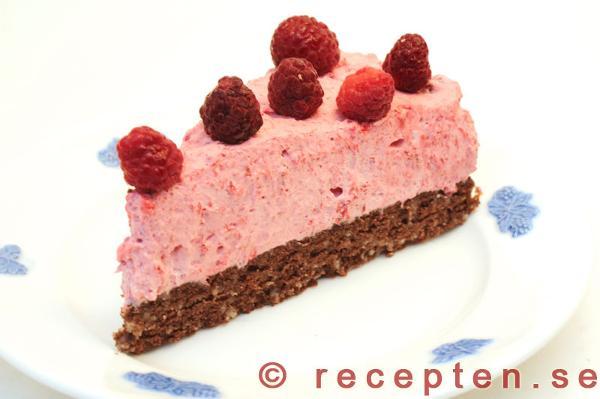 choklad hallonmousse tårta