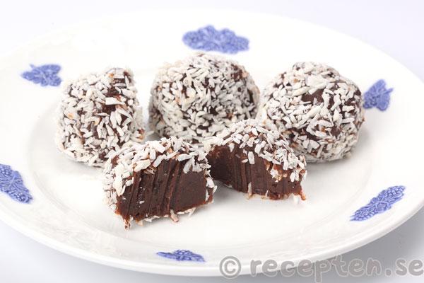 chokladbollar med kondenserad mjölk