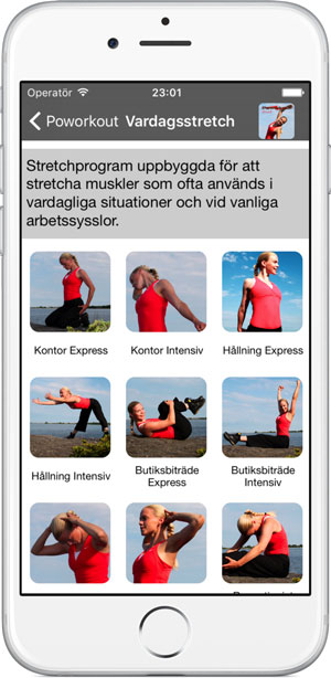 Vardagsstretch i träningsappen Poworkout Stretch