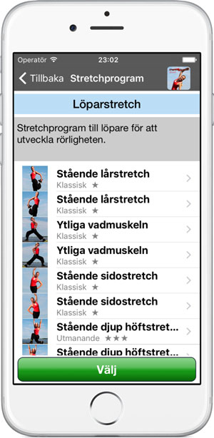 Löparstretch i appen Poworkout Stretch